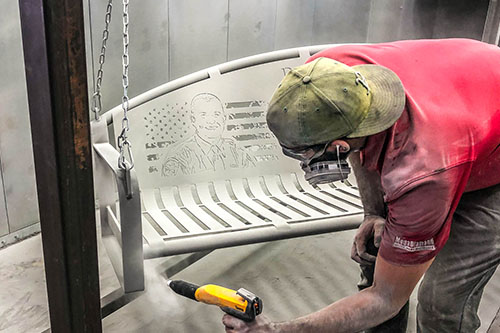 Benches are first primed to add a layer of protection between the bare metal and outdoor elements. The powder coated bench swings will not last without being epoxy primed.