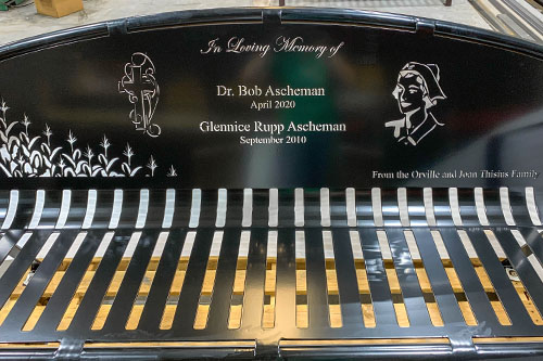 Black Powder Coated Memorial Benches