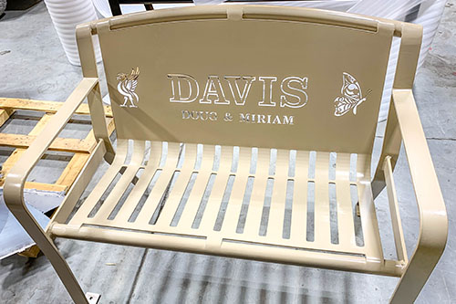 Tan Powder Coated Memorial Benches