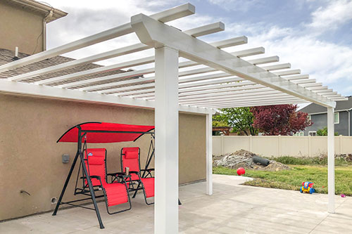 White Powder Coated Pergola