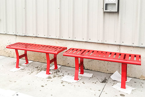 Hammertone Red Powder Coated Backless Benches