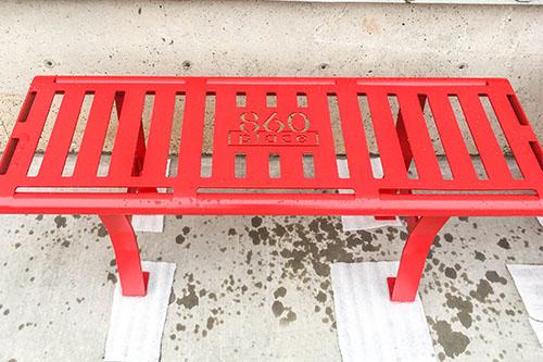 Powder Coated Hammertone Red Slat Benches