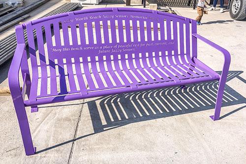 Purple Powder Coated Lilac Shade Bench