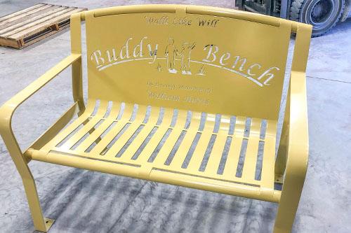 Sand Yellow Powder Coated Buddy Bench