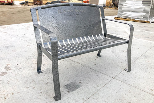 Textured Silver Powder Coated Bench