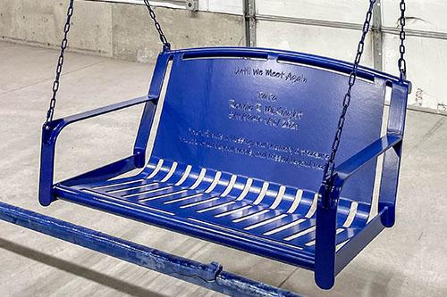 Powder Coated Cobalt Blue Swing Bench