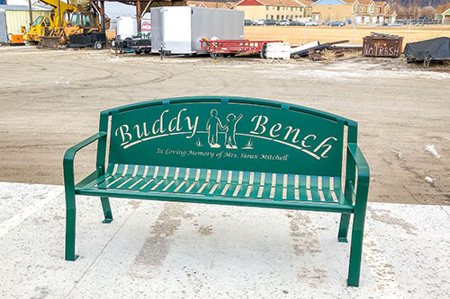 Table Green Powder Coated Buddy Benches